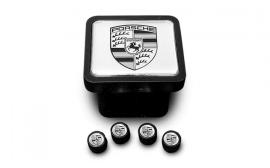 Porsche Tow Hitch Plug and Valve Stem Caps- Silver Set