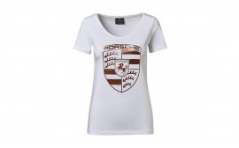 Porsche Ladies Rose-Gold Crest T-Shirt