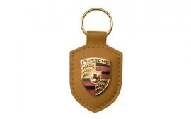Porsche Crest Keyring - Cognac