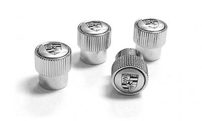 Porsche Valve Stem Caps- Silver Crest