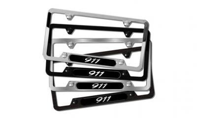 Porsche 911 Carrera Stainless Steel License Plate Frame Black